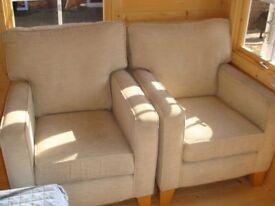 Bradbeers beige armchairs x 2