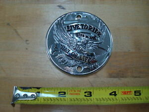 CHROME LIVE TO RIDE POINT COVER HARLEY 70 - 99 BIG TWIN & XL SPORTSTER 71 - 03