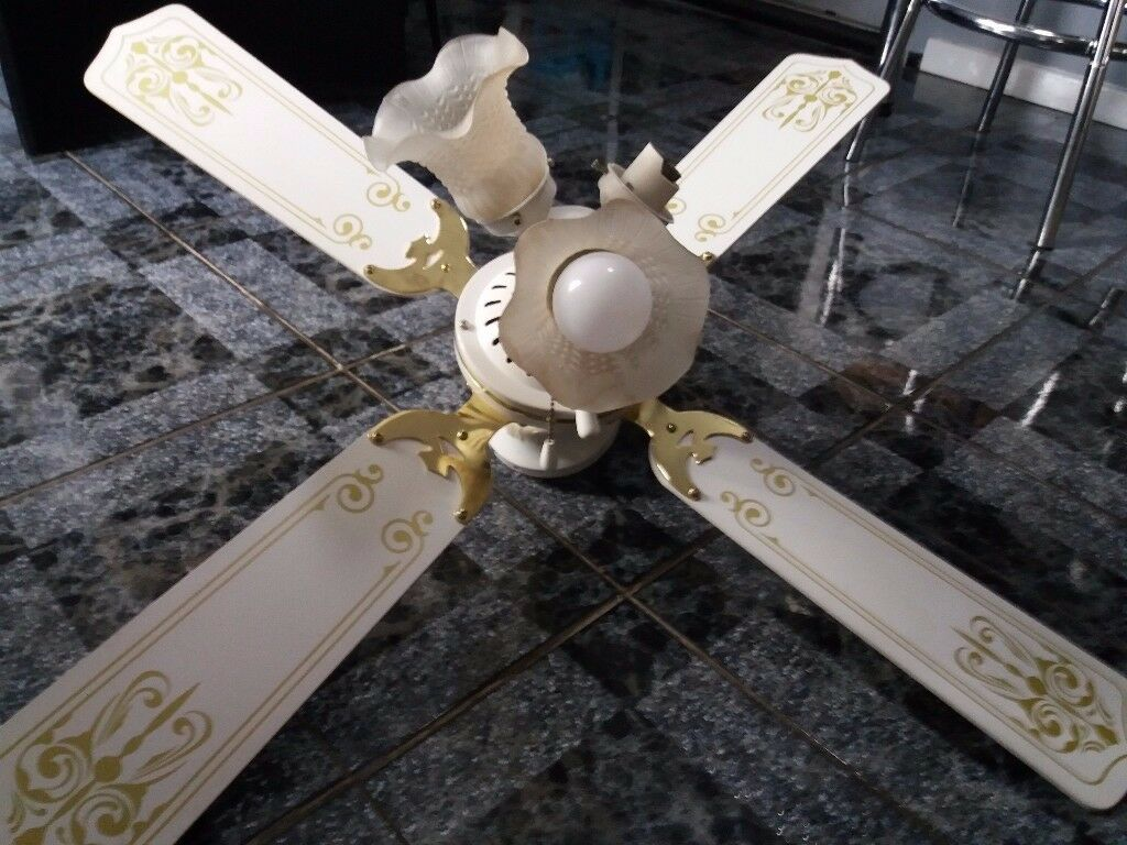 White And Gold Ceiling Fan With Light Fixures Included