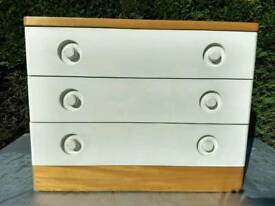 Pair of Stag Nocturne Retro Style Chest Of 3 Drawers (2)