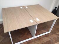 Office desks back-to-back w1200 x d1600 (2x800) x h730 mm, oak top, white frame