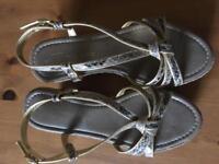 Wedged heel sandals size 3