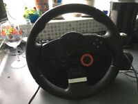 Logitech Driving Force GT Force Feedback Steering Wheel and Pedals