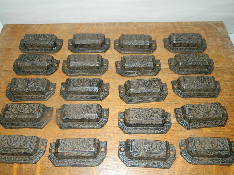 Lot/20~Ornate Iron Industrial Tool Seed Index File Bin Pull Handle Furniture