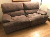 Suede large 2 seater sofa both with recliners