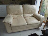 Pair of 2 Seater Cream Natuzzi Leather Sofas From Ponsfords - 4 seats in all