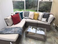 8 Piece Conservatory Furniture Set and swinging chair on a stand.