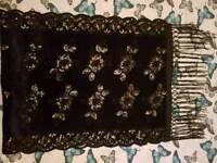 Woman's velvet black sequined scarf/ shawl