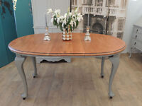 Edwardian shabby chic antique oval extending dining table