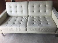 Cream leather 2-seater settee with chrome legs