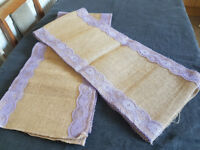 2 x Hessian Purple Lilac lavender lace table runners 9ft long 1ft wide Wedding