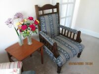 wooden upholster armchair