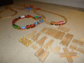 Wooden Trains and Track Brio ELC Thomas Compatible 70 piece Track Plus Trains