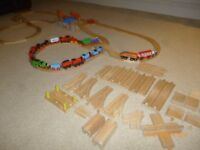 Wooden Trains and Track Brio ELC Thomas Compatible 70 piece Track Plus Trains