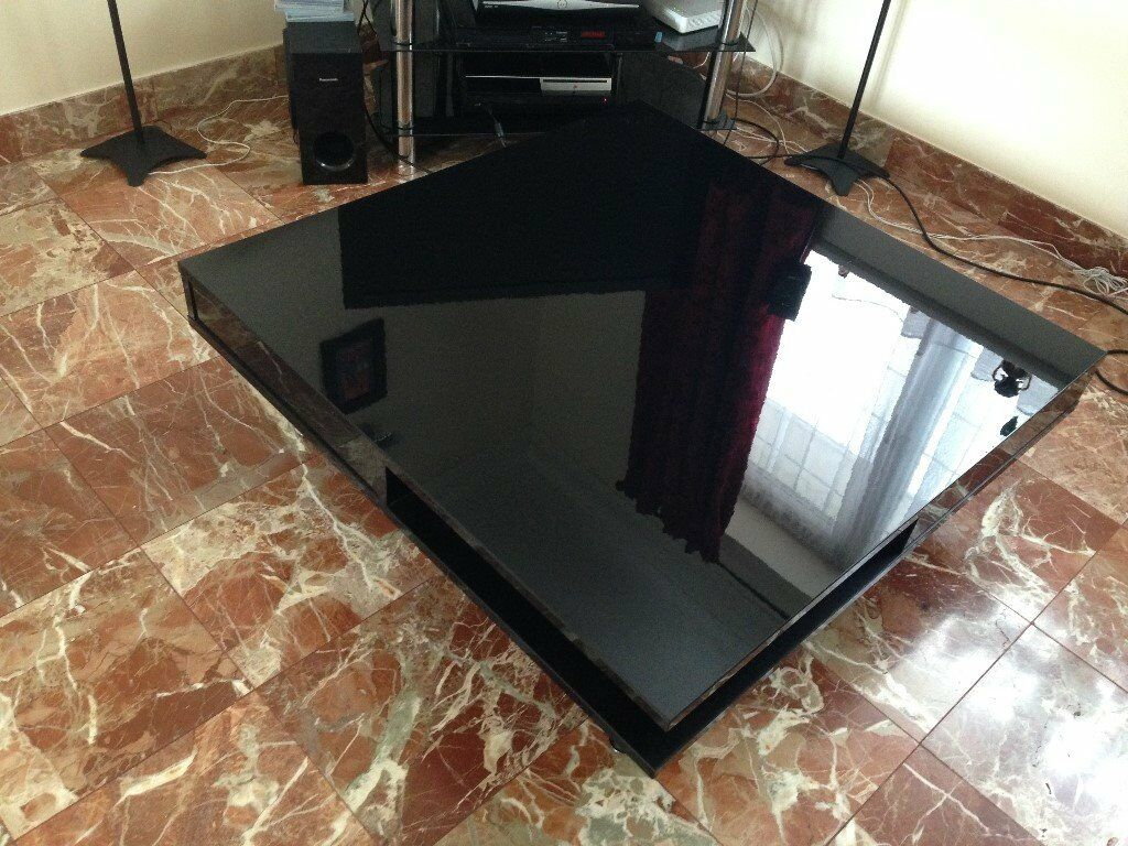 Black gloss coffee table with drawers for Black coffee table with drawers