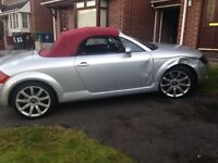 Limited edition AUDI TT convertable. Silver with a red roof. 2000 plate. Damaged