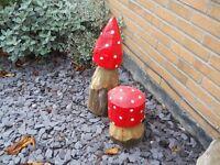 painted pair of wood mushrooms