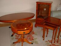 Living Room Furniture comprising of Nest of 3 Tables Oval Coffee Table Hi Fi Unit and Round table