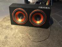 "1800W EDGE 12"" Twin Active Sub Subwoofer Boom Box & Amp EDB12TA"