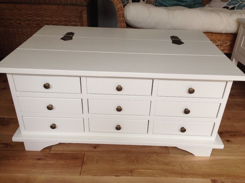 Laura ashley white rare garratt coffee table 9 drawer for Coffee tables laura ashley