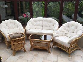 Five piece cane conservatory furniture