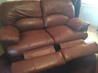 3 seater leather recliner sofa plus matching 2 seater leather recliner sofa