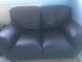 Dark Brown 2 seater leather sofa for sale