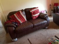 2 seater and chair brown leather 50 pound excellent condition