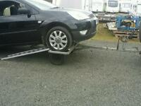 Recovery tow dolly trailer with loading ramps hand winch factory built