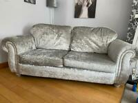 Crushed velvet 3 seater sofa