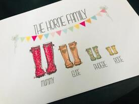Personalised Family Welly Prints