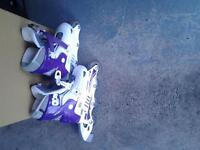 purple and white roller blade in line skates adjustable size 12 to 2 two pairs