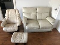 LEATHER SOFA, ARM CHAIR & FOOTREST - COLLECTION ONLY