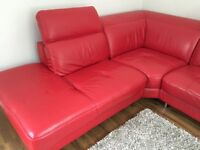 DFS red corner sofa