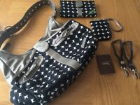 JJ Cole changing bag with mat/buggy clips/purse