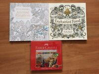 2 Adult colouring books and pencil set (brand new)