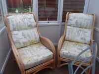 2 x comfy cane chairs, sturdy and well made