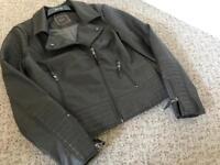 Grey leather women's jacket-size 12