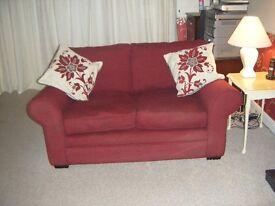 2 seater sofa in wine/burgendy colour good condition
