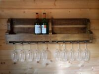 Rustic wine rack made from reclaimed timber