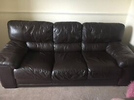 Brown three seater leather sofa for sale. Great condition from smoke free home.