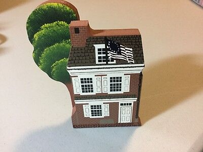 Shelia's Wooden Collectibles Betsy Ross House 1990 Signed 3-D