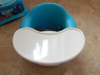 Bumbo seat in blue with tray and harness