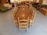 Beautiful 8FT Rustic Solid Pine Table With & 10 Dining Chairs