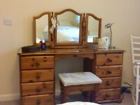 4 piece Solid Pine Bedroom Set, showroom condition, Wardrobe, dressing table, bedside table, stool