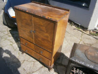 vintage retro kitsch 1930s tallboy / linen cupboard ideal shabby chic upcycle