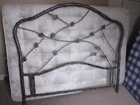 Ornate King Size Grey Metal Bedhead Lovely Leaf Design As New Designer Item