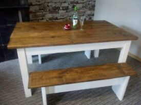 solid relaimed wood table set