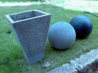 garden pot and spheres