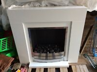 Small white electric fireplace